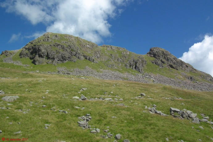 Looking up to Little Hart Crag from Scandale Pass.
