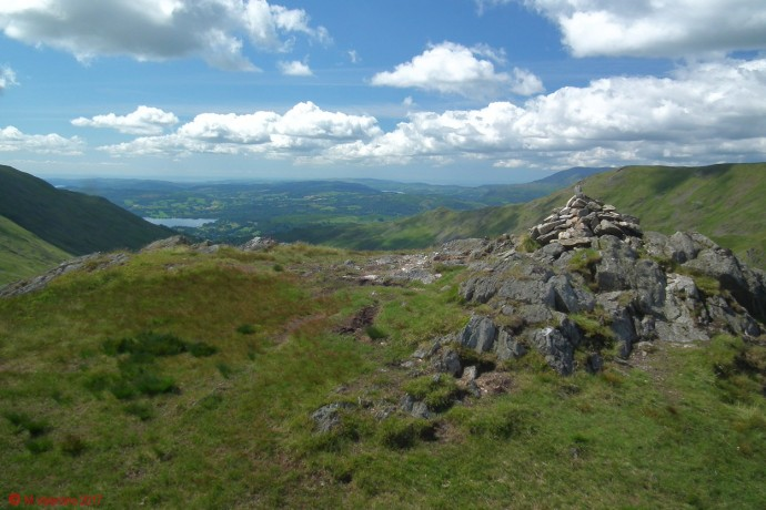 The view towards Windermere from Little Hart Crag summit.